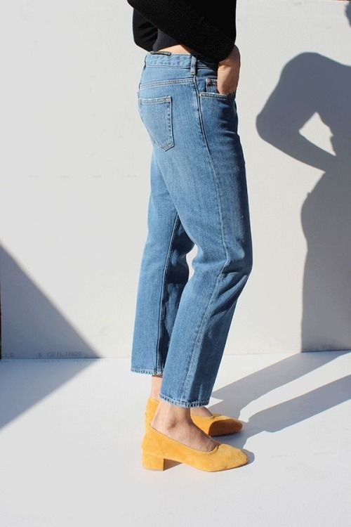 cropped jeans & yellow suede block heels