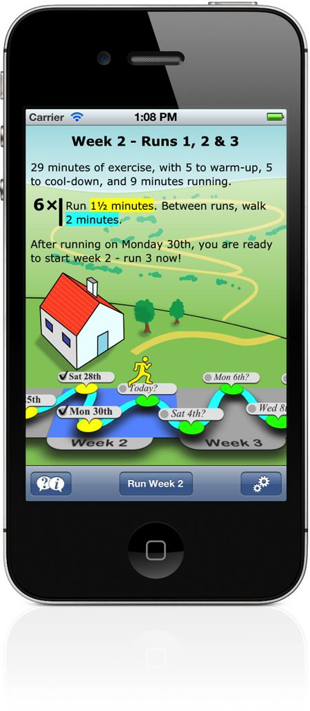 Couch to 5k App for iPhone and Android...teaches you to rune a 5k in 9 weeks! Extra bonus: the coach has a British accent!