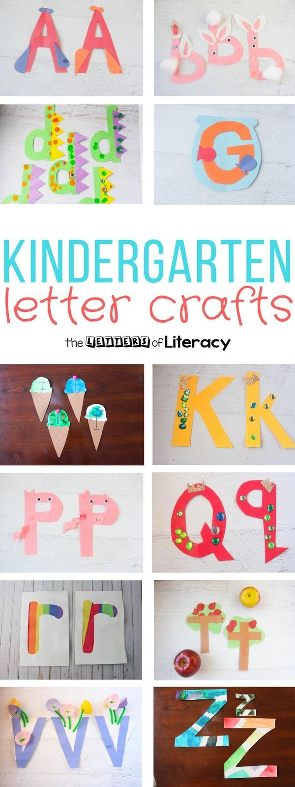 Celebrate the alphabet with these quick and easy Kindergarten letter crafts! They are perfect for Preschoolers and Kindergartners learning their ABC's.