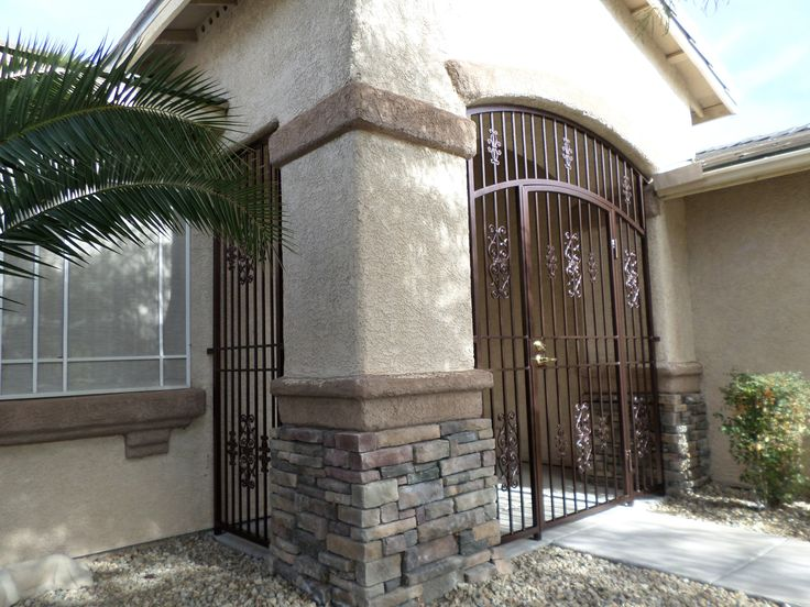 Wrought Iron Entry Gate With Porch Enclosure Panels