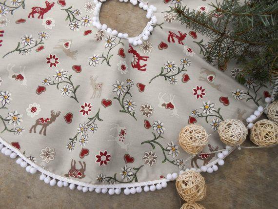 Swedish Fabric Christmas Tree Skirt Nordic Christmas Swedish Christmas Decor…