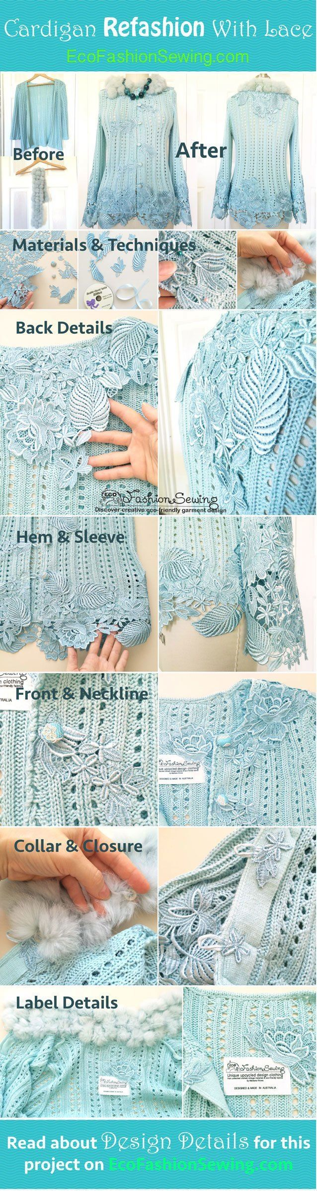 "Design details done for stylish cardigan refashion with lace and thrifted fur scarf. Lots of pictures showing all elements and the embellishment technique used in this beautiful project. Get inspired and see how you can transform your cardie, jacket or vest from ""boring casual"" to ""romantic boho chic"" fashion piece!"