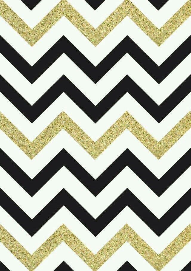 Black White Gold Glitter Chevron Print Wallpaper