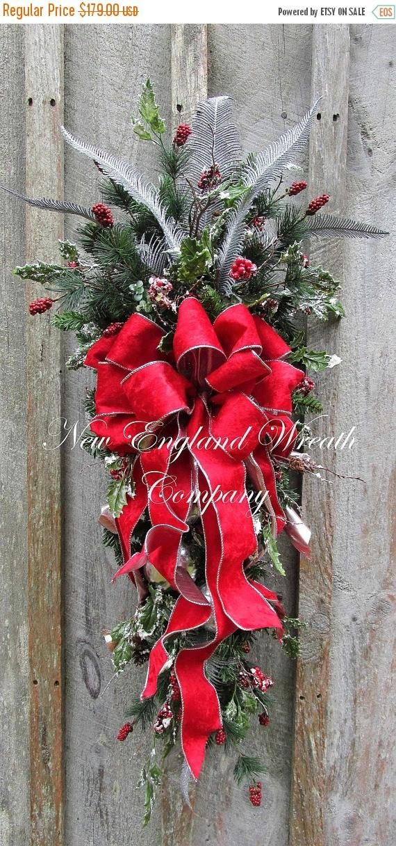 Christmas Swag, Holiday Wreath, Velvet Bow Swag, Victorian Christmas Swag, Designer Christmas Wreath, Elegant Holiday Swag, Ornament Wreath Grand Bostonian Holiday Swag. Frosted red berries and leaves mingle with glittered sprays and ferns, all resting upon a lush bed of Canadian