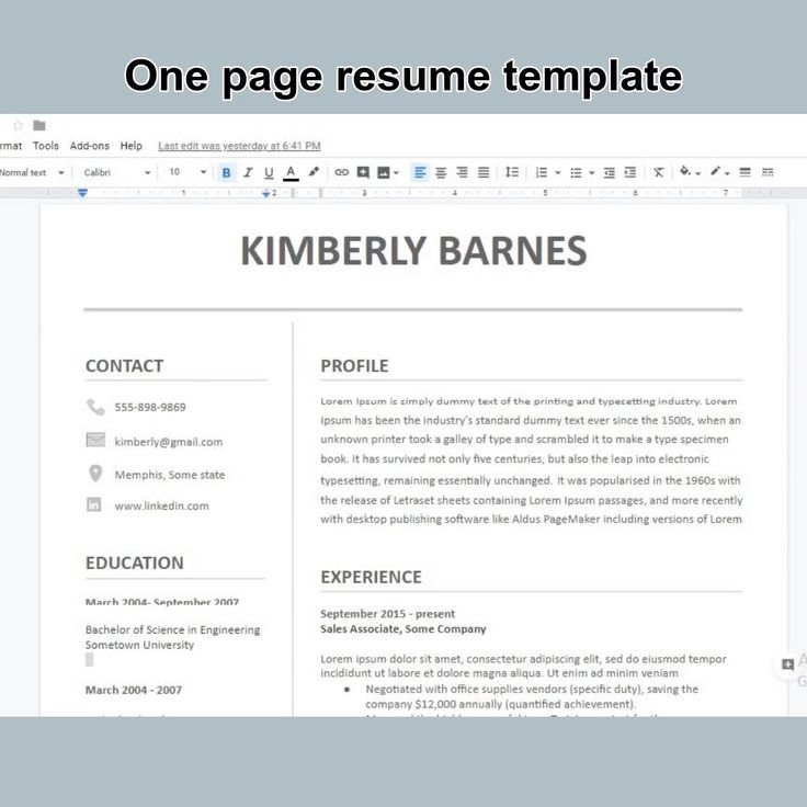 Professional resume template for google docs in 2020