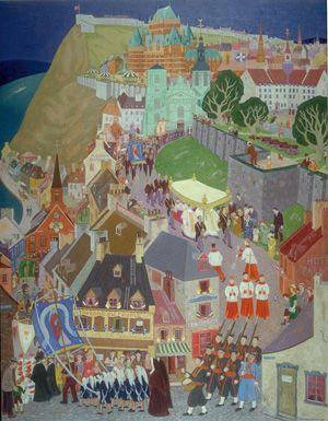 ۩۩ Painting the Town ۩۩ city, town, village & house art - Jean Paul Lemieux | La Fête-Dieu Je ne m'en lasse pas.