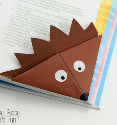 Sünis könyvjelzők papírhajtogatással - origami gyerekeknek