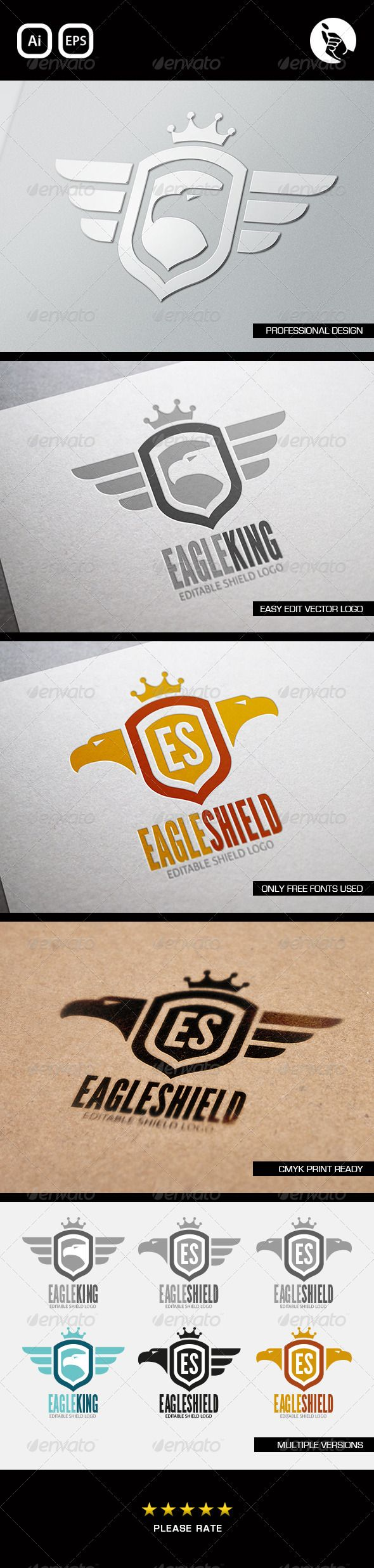 Eagle Shield - Logo Design Template Vector #logotype Download it here: http://graphicriver.net/item/eagle-shield-logo/4806405?s_rank=1058?ref=nesto