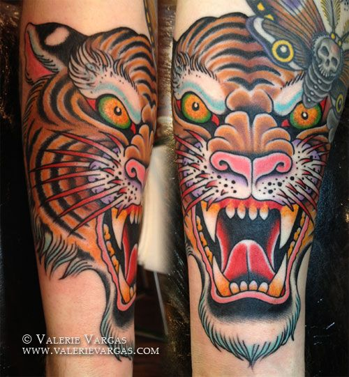 tattoo old school / traditional ink - tiger (by Valerie Vargas) right knee