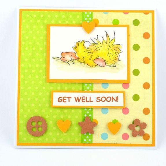 """Skjønt kort med sovende andunge. """"Get well soon!""""  Handmade card"""