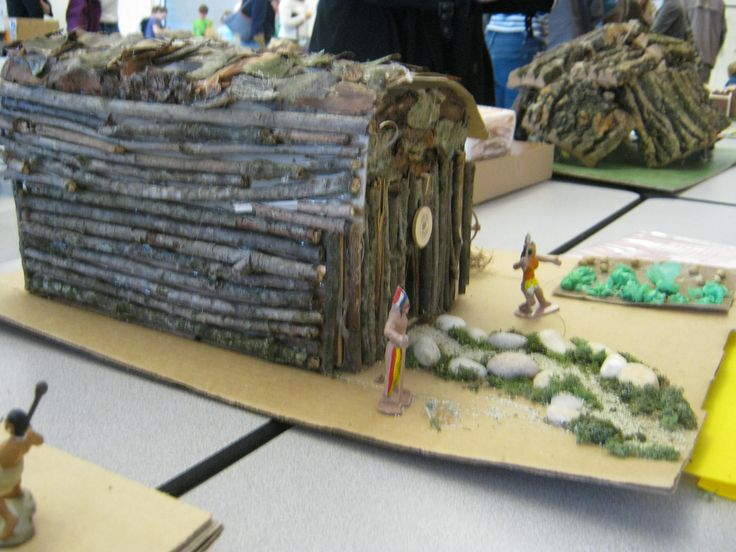 Indian Longhouse: Becca's school project  Twigs were glued on over a large shoe box.  Bark and leaves were added.  It's a replica of an Iroquois longhouse.