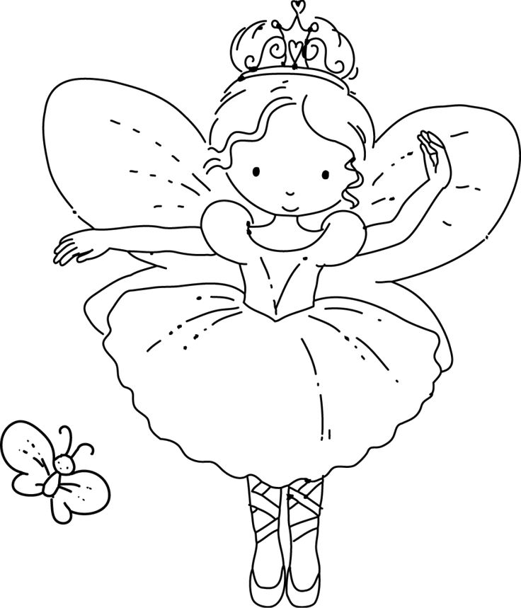 fairy ballerina with butterfly hand embroidery or colouring page