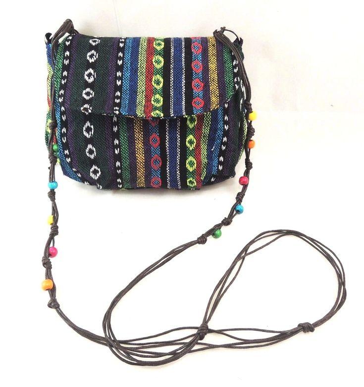 Lady's Cross Body Bag/ Purse With Beads - Bohemian & Ethnic Print Cross Body Bag