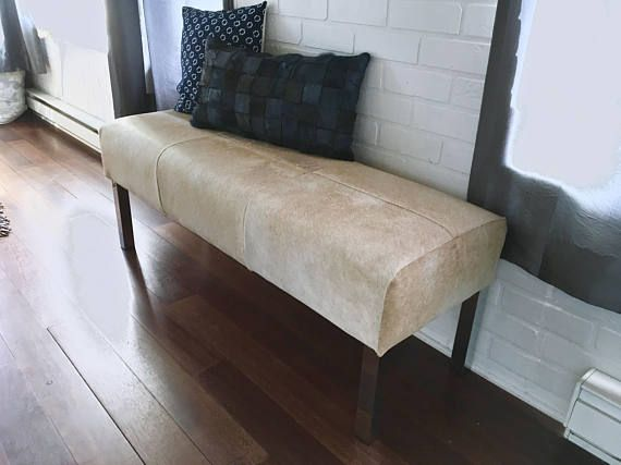 AB FAB! New Cowhide BENCH Ottoman Pouf Footstool   Beige / Light Tan Cowhide