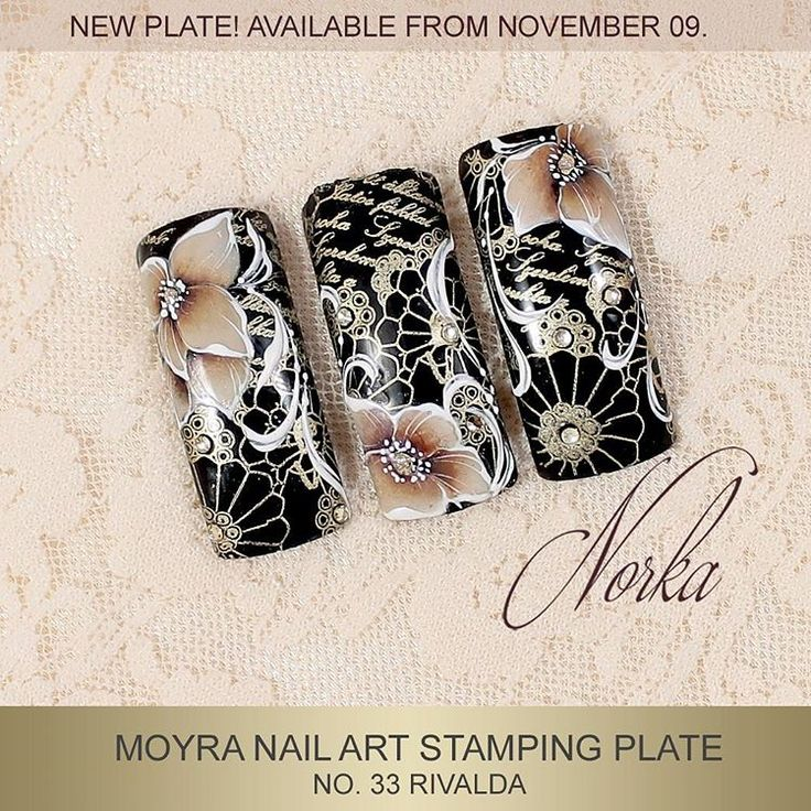 "173 Likes, 6 Comments - Moyra Nail Polish and Stamping (@moyra_nailpolish_and_stamping) on Instagram: ""Nail art with Moyra Stamping Plate No. 33 Rivalda, Moyra SuperShine Colour Gel 502 Snow, 501 Devil,…"""