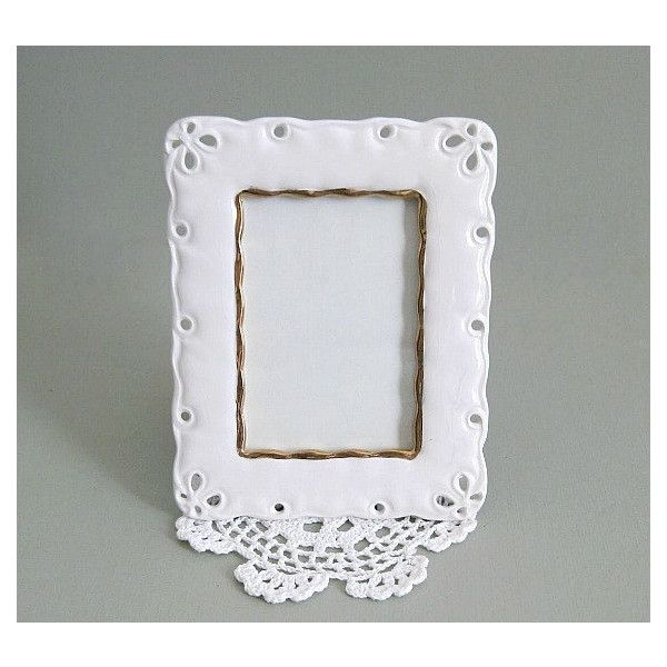 Shabby Chic Frame Small Picture Frame Photo Frame White Frame with... ($15) ❤ liked on Polyvore featuring home, home decor, frames, white frames, white home accessories, white glass frames, shabby chic picture frames and ceramic frames