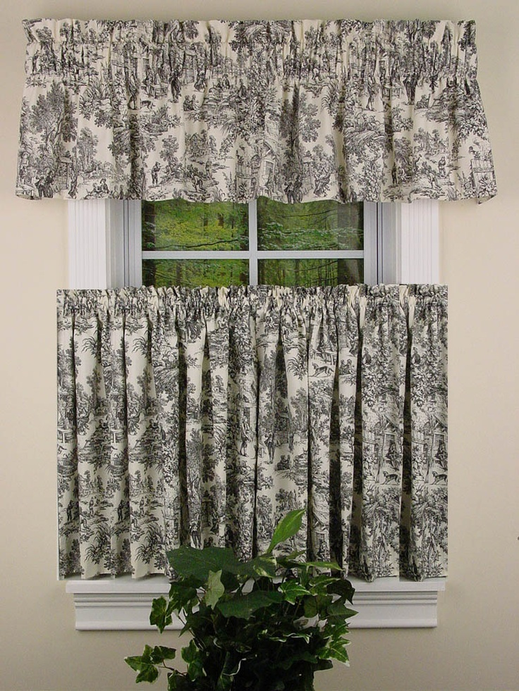 Toile Kitchen Curtain   Victoria Toile Curtains And Valances
