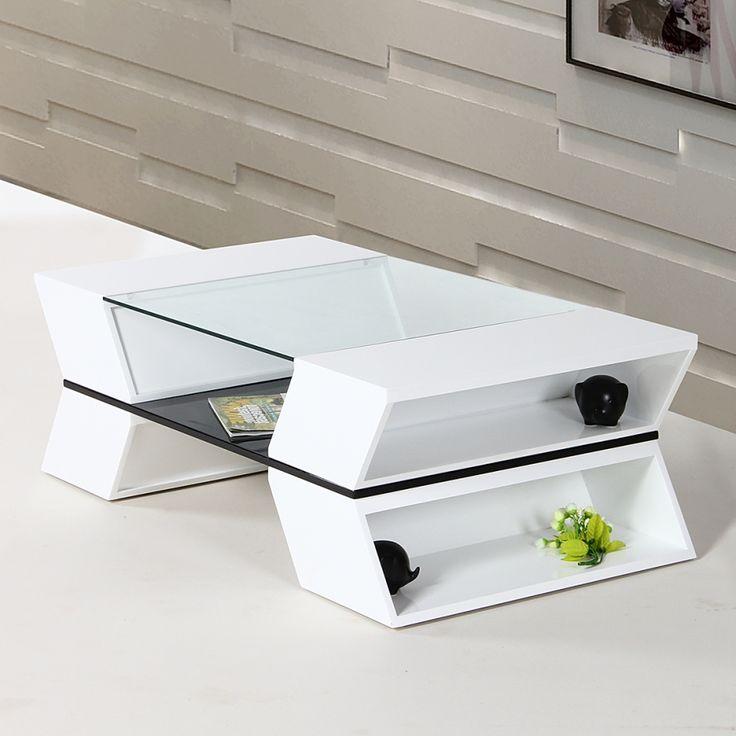Table basse Weezy - Blanc brillant / Verre transparent