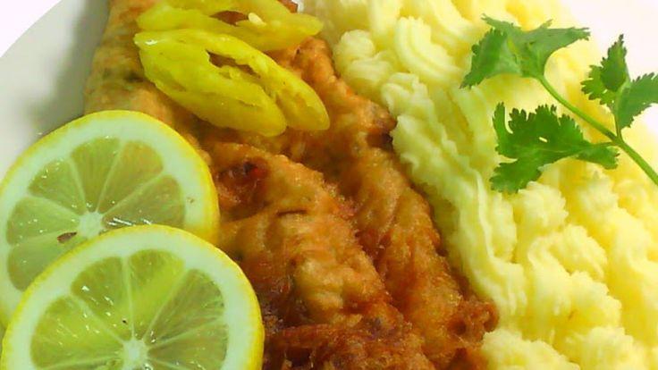 Pescado frito con pure