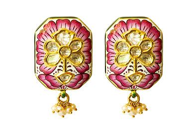 Lotus Meena Earrings in #pink