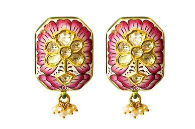 Lotus Meena Earrings in #pink