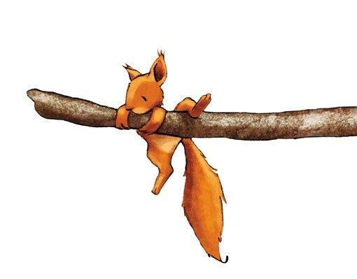 Wandtattoo Eichhörnchen als Wanddekoration fürs Kinderzimmer.