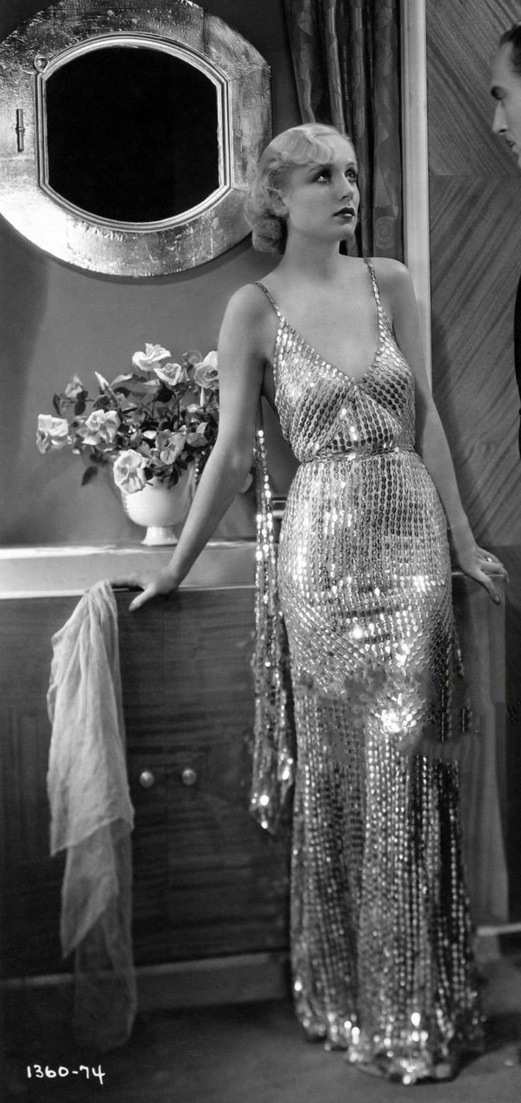 Carole Lombard | stunning 1920s metallic evening dress with classic finger wave hair