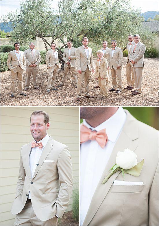 peach and beige groom   groomsmen ideas   peach bow tie   rustic wedding   #weddingchicks
