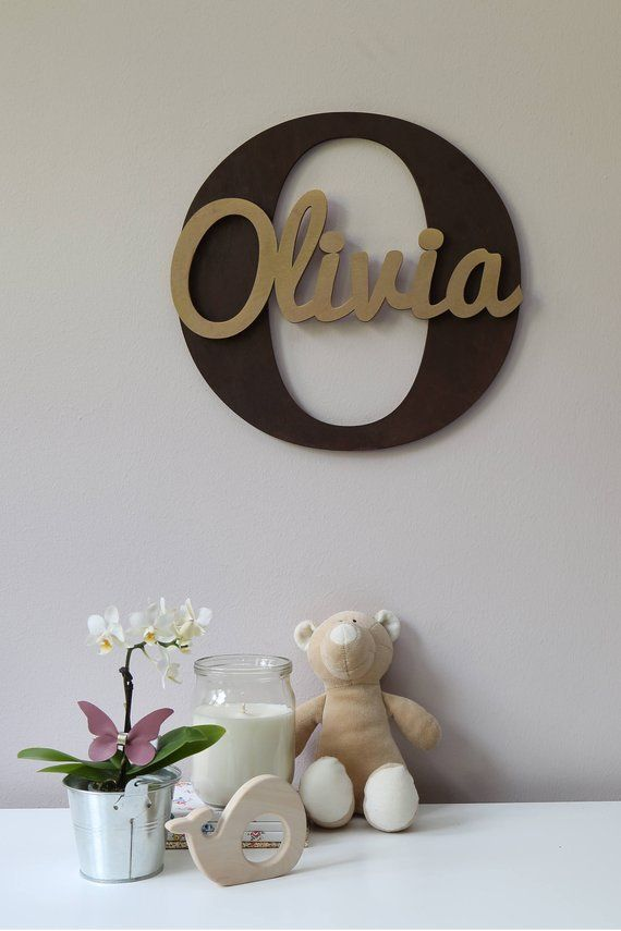 Wooden Letters Baby Nursery Wall Hanging In Script Font Name Sign Kids Room Decor Wood Ideas Pinterest