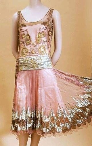 Silk and embroidered 1920's dress
