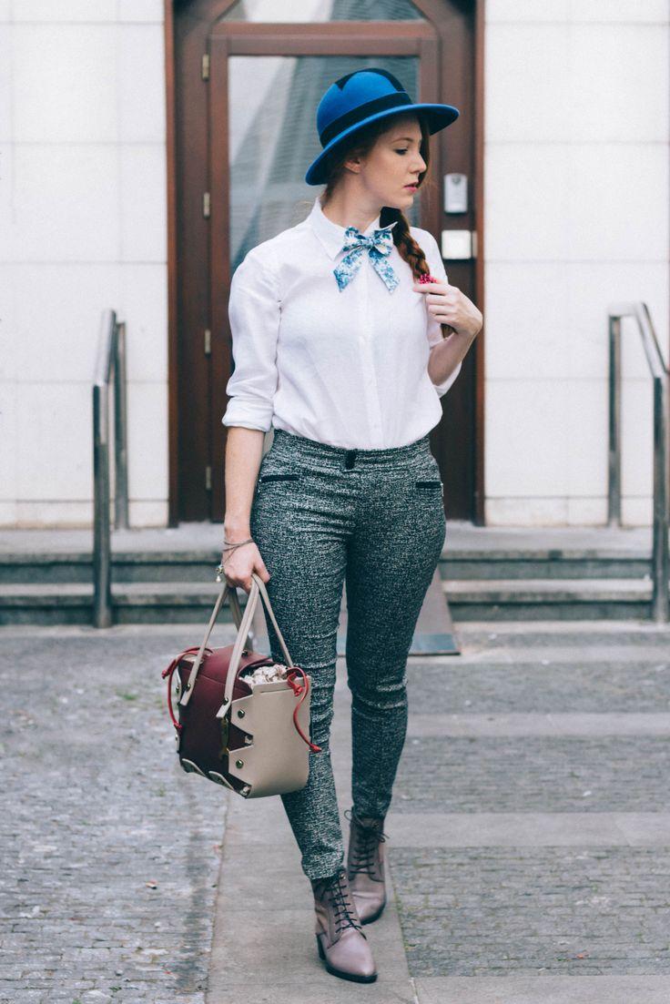 Blouse/Uniquolo Tie/Krispol Store Trouses/Bogner Bag,shoes/Salamander Bracelet/Trollbeads Hat/MiOL Hats