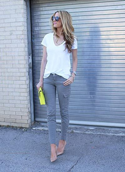 casual grey cargo pants and tan heels