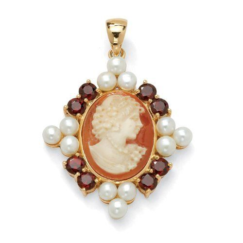 2.40 TCW Round Garnet and Cultured Freshwater Pearl Cameo 18k Yellow Gold Over Sterling Silver Angelina D'Andrea. $129.99
