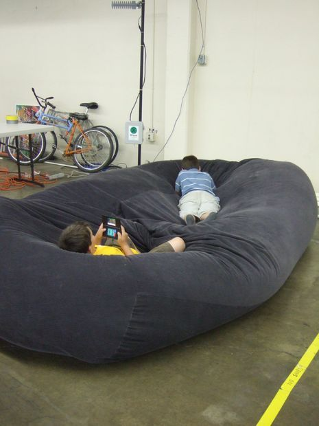 Really really big beanbag!  http://www.instructables.com/id/bean-bag-sofa--bed/