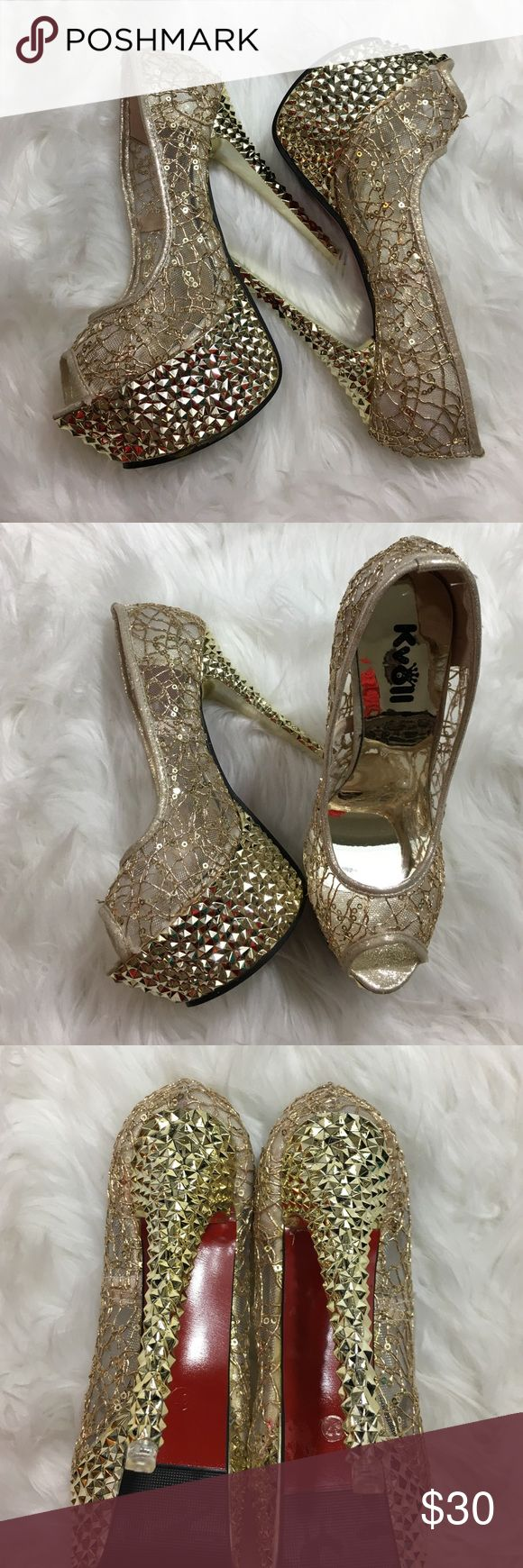Kvoll gold Stilettos❗️Sexy Heels ✨ Party NWOT Look super sexy in these Gold Stilettos. The top is a see through Mesh with sequin! The heel is a metallic gold! Stunning! Def a show stopper. These heels are brand new! 👠👌🏼💃🏻 kvoll Shoes Heels