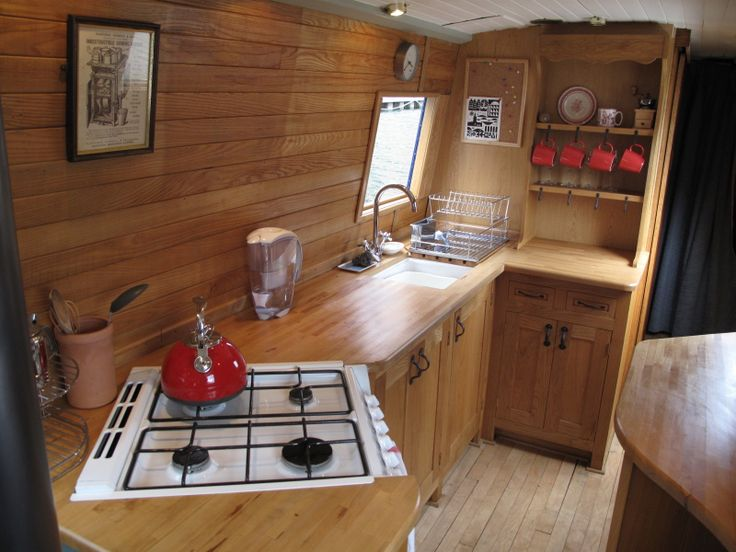 Narrowboat kitchen. Decent counter space.