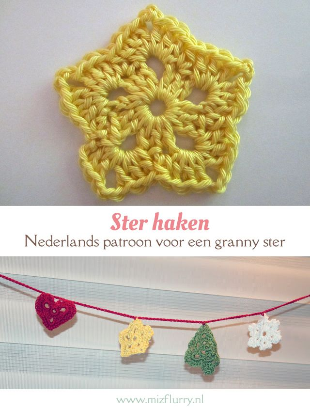 Gratis Haakpatroon Ster Knit Crochet Pinterest Crochet