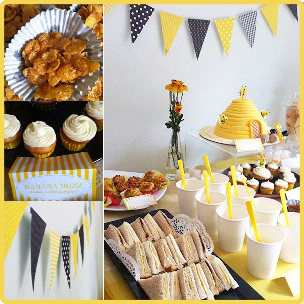A Bee Themed Birthday Party Styled For My 2 Yo Boy The Spread Includes Food Cake And Diy Decorations