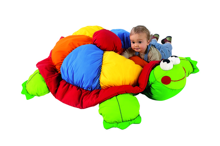 """""""Lula the Tortoise"""" Giant Floor Cushion from #Wesco. Your little one will LOVE snuggling with this comfy cushion! #playroom"""