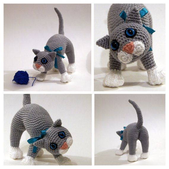Crochet cat crochet kitten amigurumi cat Playful by Zizidora