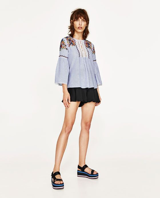 ZARA - WOMAN - STRIPED BLOUSE WITH EMBROIDERY