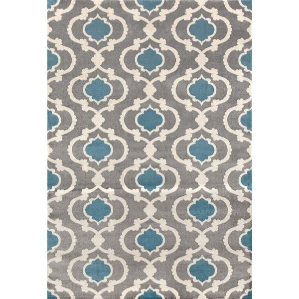 Contemporary Moroccan Trellis Grey/Blue Polypropylene Indoor Area Rug (3u00273  X 5