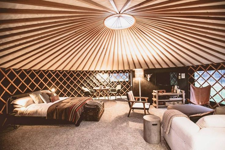 Yurt in Raglan, New Zealand. The round tent is a boutique camping experience in a Mongolian style yurt. The luxury campsite has been designed to promote relaxation and romance in a unique setting. All the stylish comforts make it a truly novel holiday.  This is the camping ho...