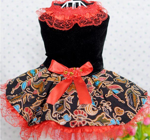 10 шт. щенок печать цветочное платье собаку юбки собачка свободного покроя костюм собаки кружева свадебные платья 2 цвета домашние одежды XS-XL