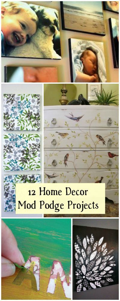 12 Home Decor Mod Podge Projects • Lots of tutorials!