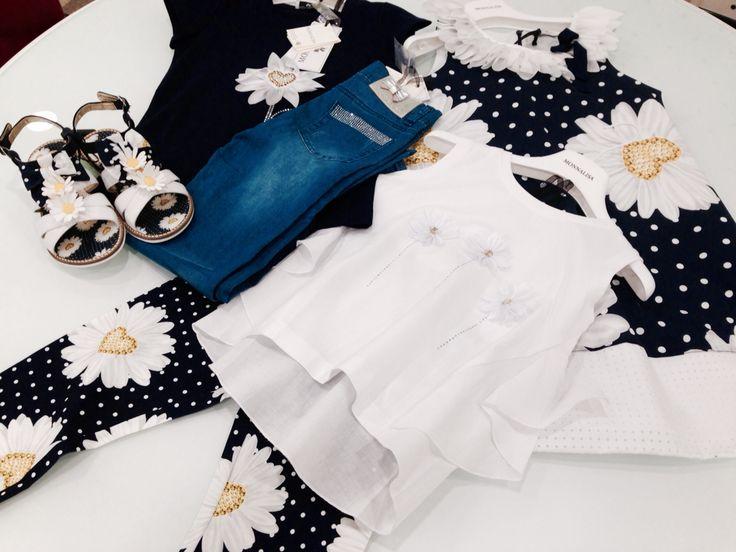 Monnalisa   Spring-Summer Collection   Girl #Monnalisa #spring #summer #kids' #fashion #girl #blue #jeans #yellow #flower #diamonds #white #tshirt #shoes #dress #skirt #carryonjunior