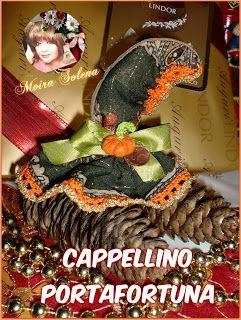 Il Cappellino della streghetta ...realizzato con una castagna (parte inferiore nascosta) ...segnaposto, decorazione confezioni regalo.