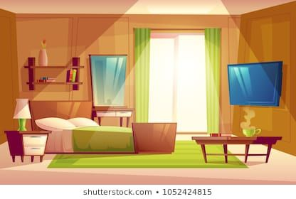 Vector Cartoon Interior Of Cozy Modern Bedroom Living Room With Double Bed Tv Set Dresser Book Animation Background Living Room Background Anime Background