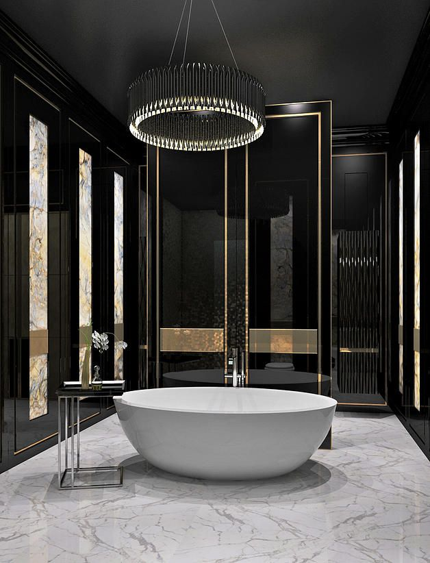 Check Out This Bathroom And The Sleek Black Gold Theme Remodelworks BathroomBathroom ModernDesign