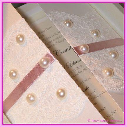 DIY Wedding Invitation   Card With Lace U0026 Pearls  Www.themodernjewishwedding.com